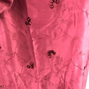 Vintage Accents - evandale Burgundy Flower Embroidered Silk Curtains